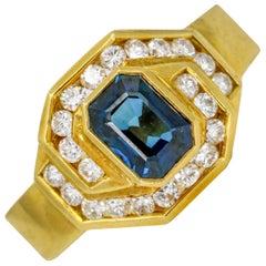 Damiani 1.25 Carat 18 Karat Yellow Gold Sapphire Diamond Ring