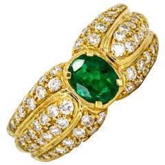 Damiani 1.66 Carat 18 Karat Yellow Gold Emerald Diamond Band Ring