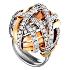 Damiani 18 Karat White and Rose Gold Diamond Pave Tangled Dome Ring