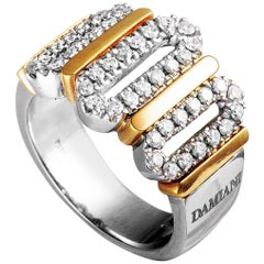 Damiani 18 Karat White and Rose Gold Diamond Pave Wide Band Ring