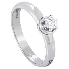 Damiani 18 Karat White Gold .19 Carat Diamond Solitaire Engagement Ring