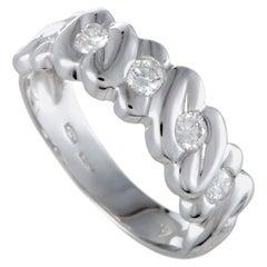 Damiani 18 Karat White Gold, .50 Carat Diamond Band Ring