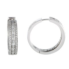 Damiani 18 Karat White Gold Diamond Hoop Earrings