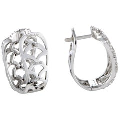 Damiani 18 Karat White Gold Diamond Lace Huggie Earrings