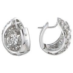 Damiani 18 Karat White Gold Wide Diamond Huggie Earrings