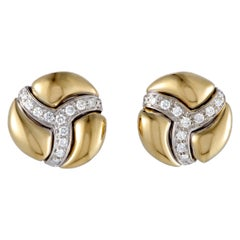 Damiani 18 Karat Yellow and White Gold Diamond Pave Round Huggie Earrings