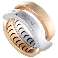 Damiani Abbraccio 18 Karat White and Rose Gold Single Diamond Crisscross Ring