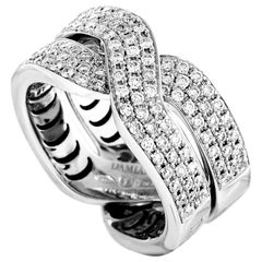 Damiani Abbraccio 18 Karat White Gold Diamond Pave Crisscross Ring