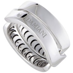 Damiani Abbraccio 18 Karat White Gold Single Diamond Crisscross Ring