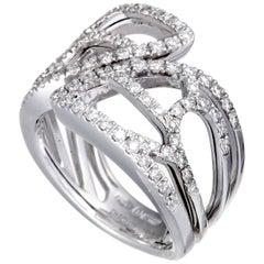 Damiani Battito d'ali 18 Karat White Gold Full Diamond Openwork Wide Band Ring