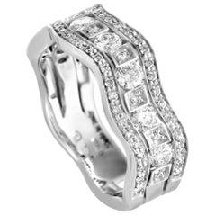 Damiani Belle Époque 18 Karat White Gold Diamond Curved Band Ring