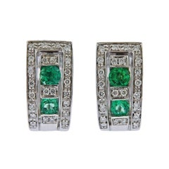 Damiani Belle Époque Gold Diamond Emerald Hoop Earrings