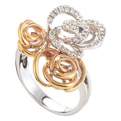 Damiani Bocciolo 18 Karat White and Rose Gold Diamond Flower Ring