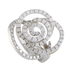 Damiani Bocciolo 18 Karat White Gold Full Diamond Flower Ring