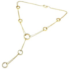 Damiani Brad Pitt Diamond 7 Station Drop Yellow Gold Necklace