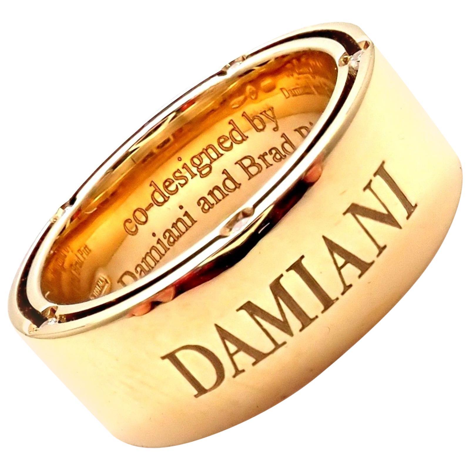 Damiani Brad Pitt Diamond Wide Yellow Gold Band Ring