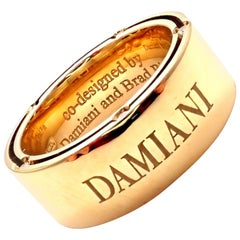 Damiani Brad Pitt Diamond Wide Yellow Gold Band Ring
