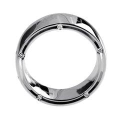 Damiani D. Side Women's 18 Karat White Gold Diamond Band Ring 20016589