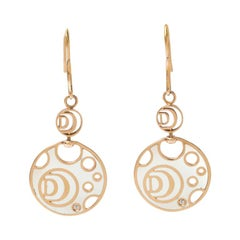 Damiani Damianissima Diamond Ceramic Double Face 18k Rose Gold Earrings