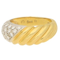 Damiani Diamond and 18 Karat Yellow Gold Ring