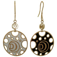 Damiani Diamond White and Black Enamel Large Disk French Wire Drop Earrings
