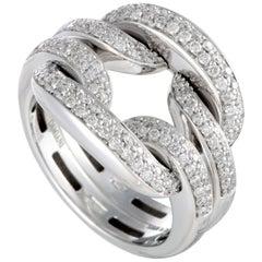 Damiani D.Lace 18 Karat White Gold Full Diamond Pave Cushion Ring