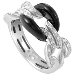Damiani D.Lace White Gold Diamond and Onyx Cushion Ring