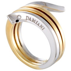 Damiani Eden 18 Karat Yellow and White Gold Diamond 3-Coil Spiral Ring