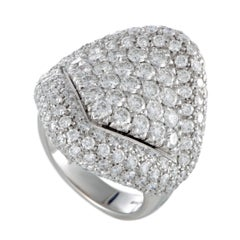 Damiani Full Diamond Pave White Gold Large Cocktail Ring