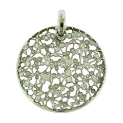 Damiani Inside Out Diamond Large Circle Pendant for Necklace in White Gold