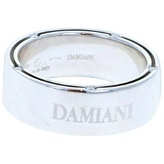 Damiani Men's 18 Karat White Gold and Diamond Band Ring with Box 11.9 Grams