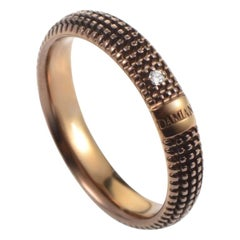 Damiani Metropolitan 18 Karat Brown Gold 1 Diamond Textured Band Ring