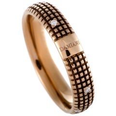 Damiani Metropolitan 18 Karat Gold and Brown Rhodium 9 Diamonds Textured Band