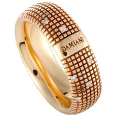 Damiani Metropolitan 18 Karat Rose Gold 18 Diamonds Textured Band Ring