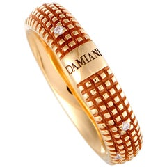 Damiani Metropolitan 18 Karat Rose Gold 9 Diamonds Textured Band Ring