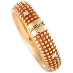 Damiani Metropolitan 18 Karat Rose Gold 9 Diamonds Textured Band Ring