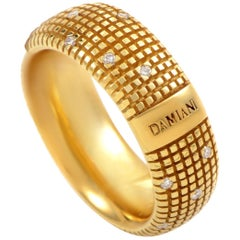 Damiani Metropolitan 18 Karat Yellow Gold 18 Diamonds Textured Band Ring