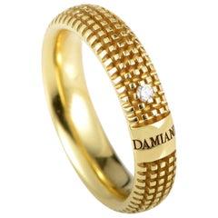 Damiani Metropolitan 18 Karat Yellow Gold Diamond Textured Band Ring