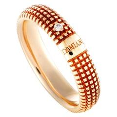 Damiani Metropolitan 18 Karat Rose Gold Diamond Textured Band Ring