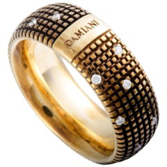 Damiani Metropolitan 18K Yellow Gold and Brown Rhodium 18 Diamonds Textured Band