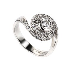 Damiani Promise 18 Karat White Gold Diamond Swirl Engagement Ring