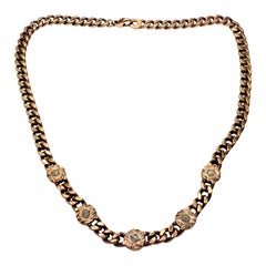 Damiani Rough Diamond Maji Link Rose Gold Chain Necklace