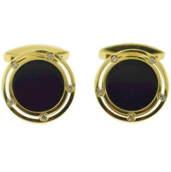 Damiani Signed Onyx and Diamond 18 Karat Yellow Gold Cufflinks