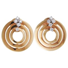 Damiani Sofia Loren 18k Rose and White Gold Diamond Round Push Back Earrings