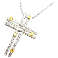 Damiani White and Yellow Diamond Cross White Gold Pendant Necklace