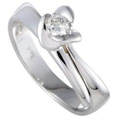 Damiani White Gold, .18 Carat Diamond Solitaire Engagement Ring