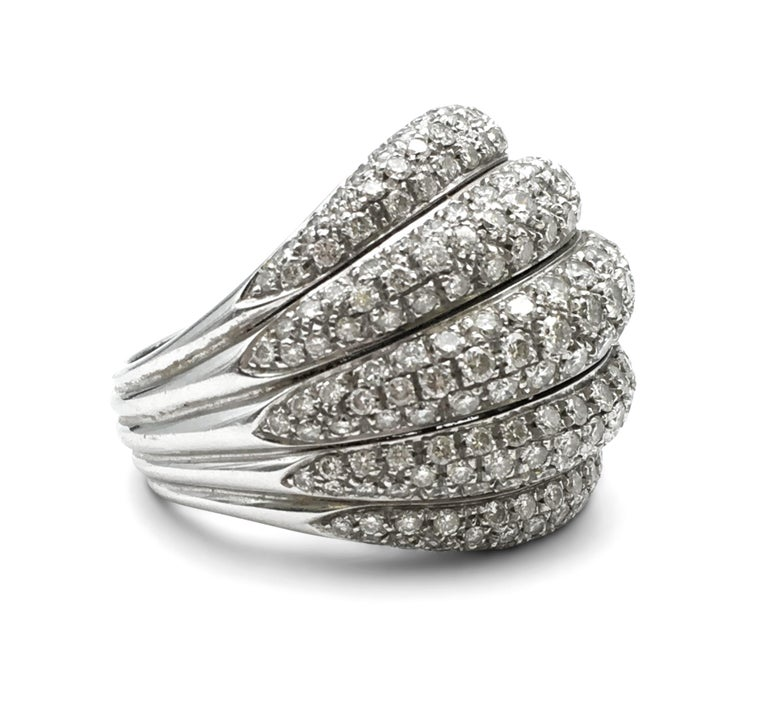 Round Cut Damiani White Gold and Diamond 5-Row Ring For Sale