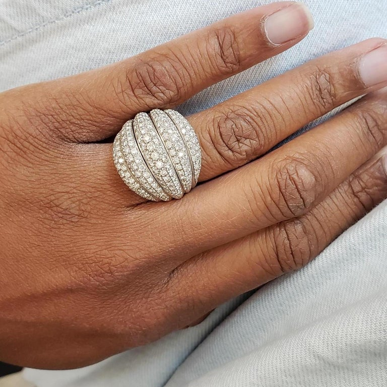 Damiani White Gold and Diamond 5-Row Ring For Sale 1