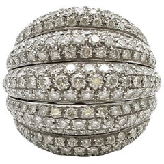 Damiani White Gold and Diamond 5-Row Ring