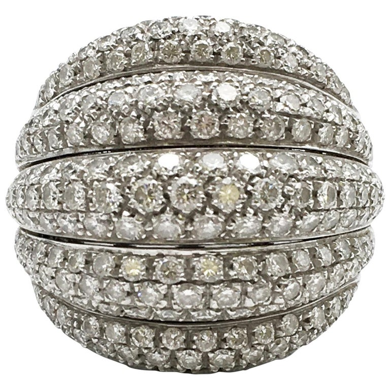 Damiani White Gold and Diamond 5-Row Ring For Sale